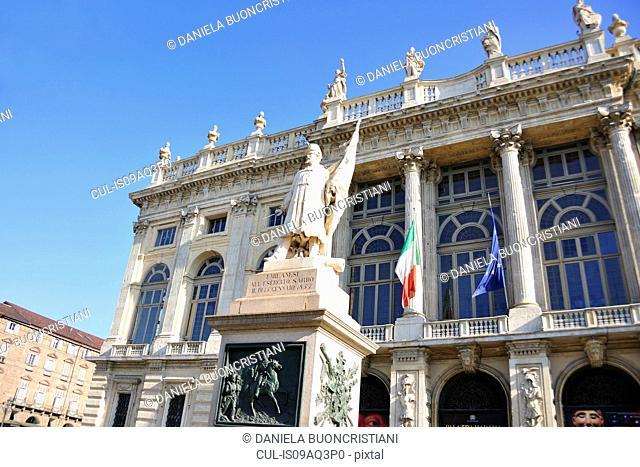 Madama Palace and Italian hero Garibaldi statue, Turin, Piedmont, Italy