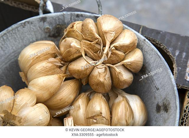 Brown Dried Garlics on Market Stall