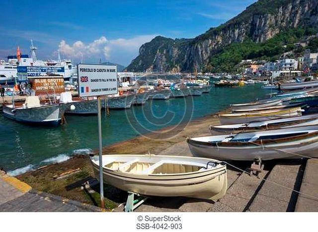 Boats at a harbor, Marina Grande, Capri, Campania, Italy
