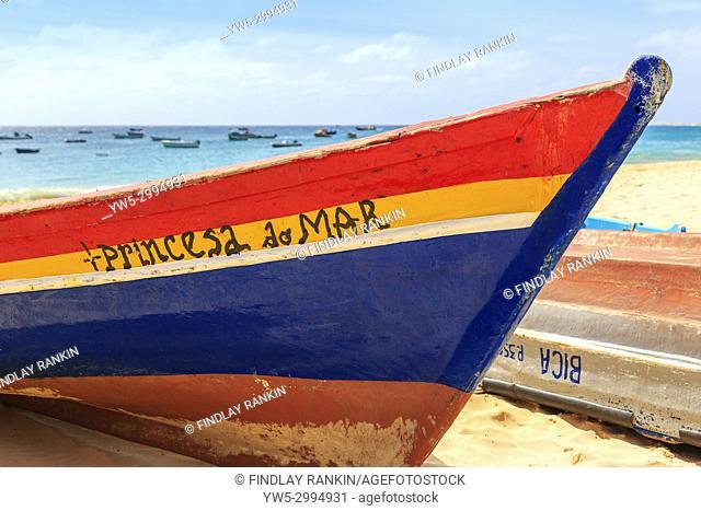 Local fishing boat called Princesa do Mar, Sea Princess on the beach at Santa Maria, Sal, Salina, CApe Verde, Africa