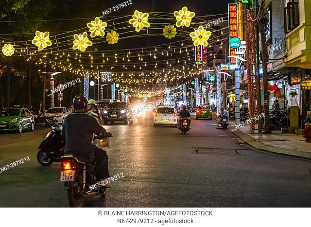 Street scene, Can Tho is a city in southern Vietnamâ. . s Mekong Delta region. Set on the southern bank of the Hau River, itâ