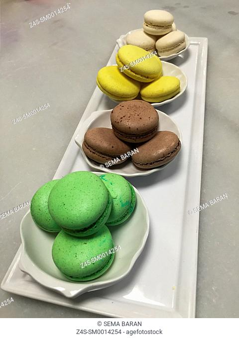 Coloufull macarons in the pastry shop, Istanbul, Marmara Province, Turkey, Europe
