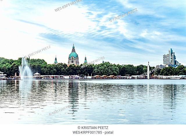Germany, Hanover, New town hall and Maschsee lake, Masch-festival