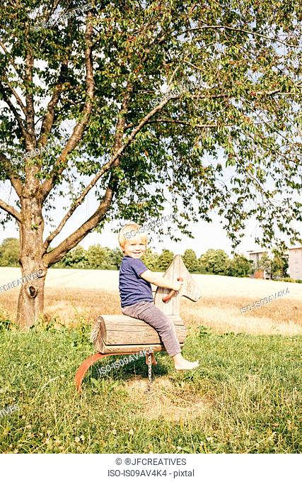Side view of boy sitting on wooden horse by tree looking at camera smiling, Ulm, Baden Wuerttemberg, Germany