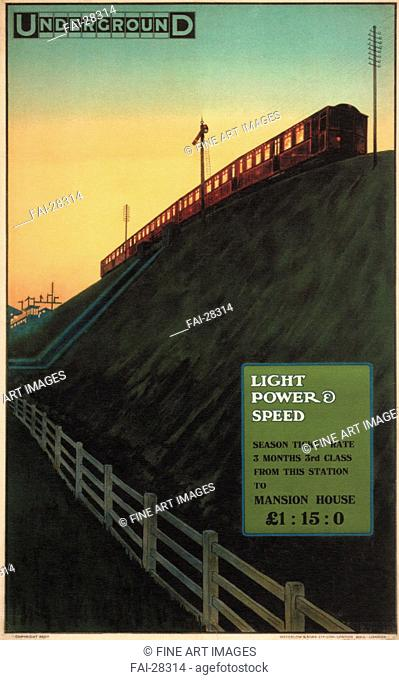 London Underground: Light , Power and Speed by Sharland, Charles (active 1910s)/Colour lithograph/Art Deco/1915/Great Britain/Private Collection/102x64/Poster...
