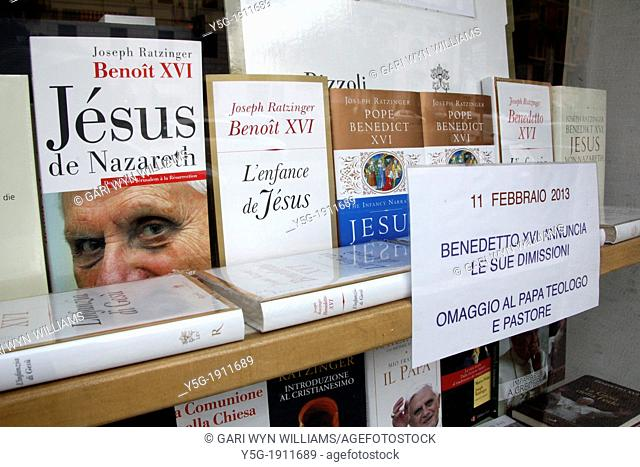 11 Feb 2013 Bookshop window by the Vatican City, Rome following the resignation announcement by Pope Benedict XVI
