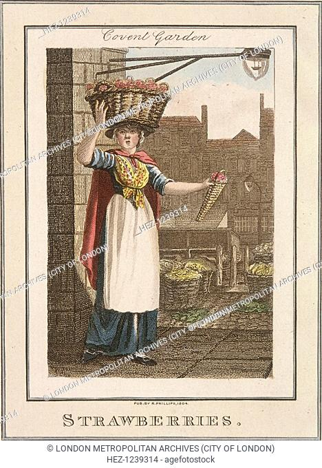 'Strawberries'. A strawberry seller in Covent Garden balancing a basket of strawberries on her head, whilst holding out a smaller basket to passers by