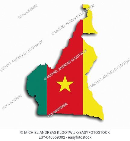 Map of Cameroon filled with the national flag