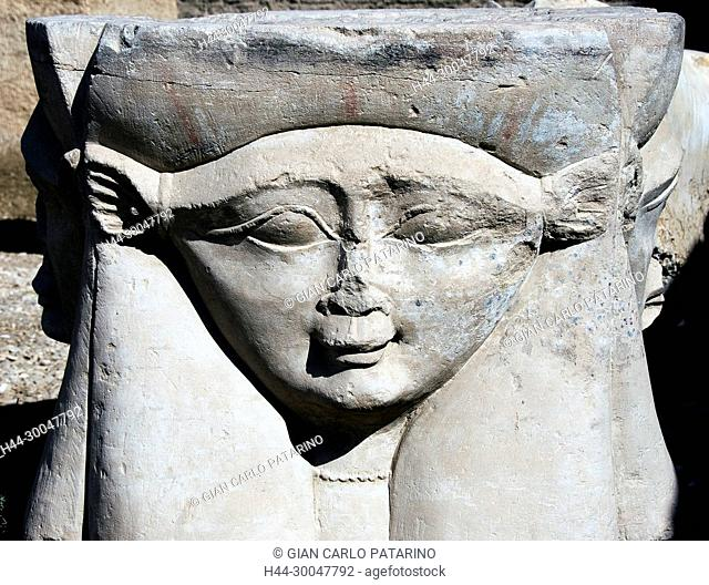 Dendera Egypt, ptolemaic temple dedicated to the goddess Hathor: a capitol with the goddess Hathor