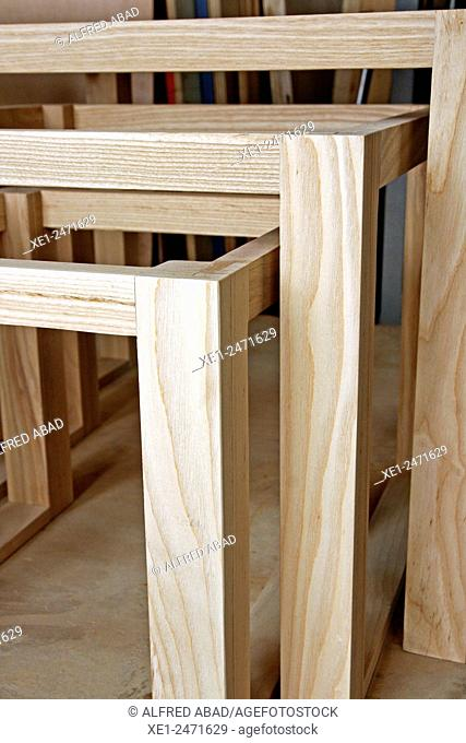 Wooden structures, Carpentry workshop, Ciutat Vella, Barcelona, Catalonia, Spain