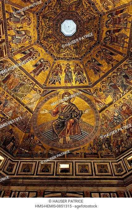 Italy, Tuscany, Florence, historic center listed as World Heritage by UNESCO, piazza di San Giovanni, baptistry San Giovanni, Mosaic of the dome dating 1209