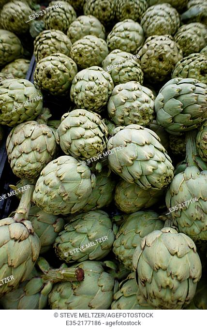 Fresh artichokes for sale at a street market in France