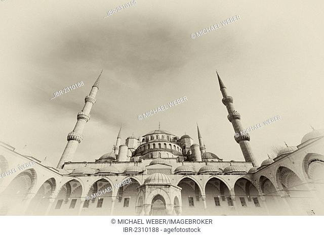 Sultan Ahmed Mosque also known as Blue Mosque, sepia, vignette, Sultanahmet, historic district, a UNESCO World Heritage Site, Istanbul, Turkey, Europe