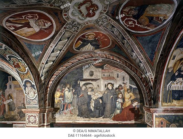 Martyrdom of St Placido, fresco by the Umbrian Master (15th century) on the transept in the Upper Church of Sacro Speco Monastery, Subiaco