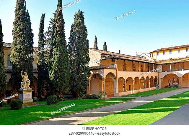 internal courtyard of basilica Santa Croce (Basilica of the Holy Cross) in Florence, Tuscany, Italy