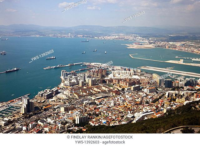 Aerial view of Gibraltar view across the Mediterranian to the Spanish mainland coast