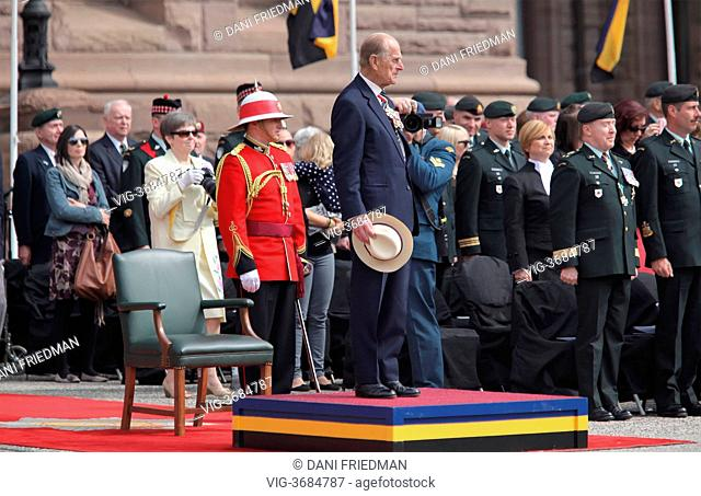 CANADA, TORONTO, 27.04.2013, His Royal Highness PPrince Philip, The Duke of Edinburgh presents a new Regimental Colour to the 3rd Battalion of the Royal...