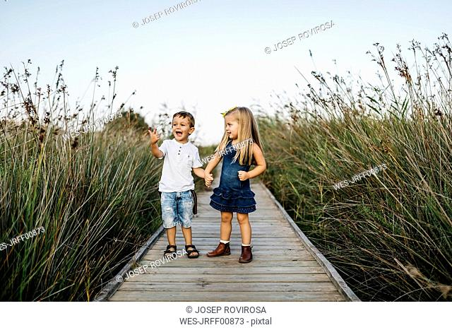 Two little children playing together on boardwalk in nature