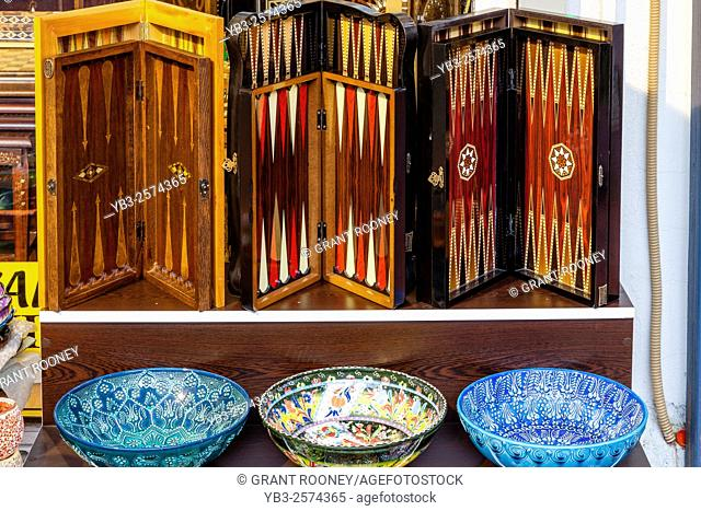 Colourful Souvenir Backgammon Boards For Sale, Marmaris, Mugla Province, Turkey