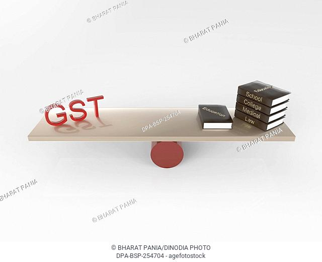 Gst and books, india, asia