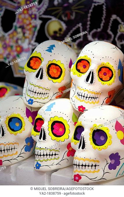 Decorated Sugared Skulls at Jamaica Market in Mexico City DF