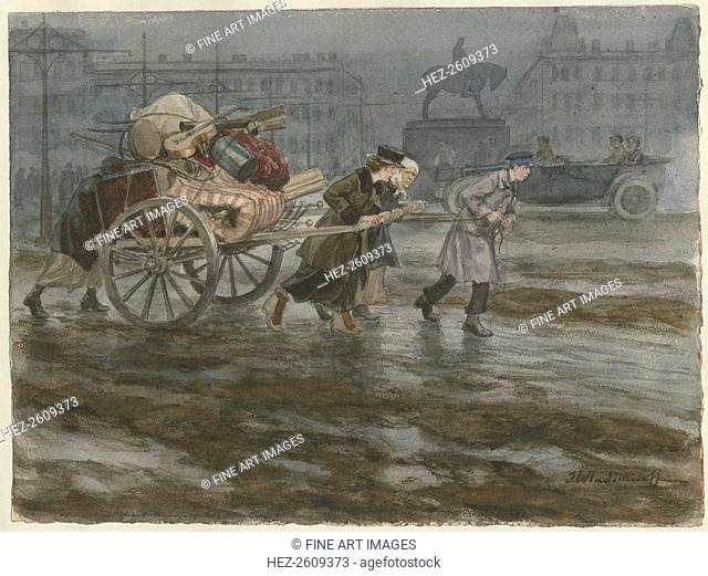Family moving its belongings on cart (from the series of watercolors Russian revolution), 1917-1918. Artist: Vladimirov, Ivan Alexeyevich (1869-1947)