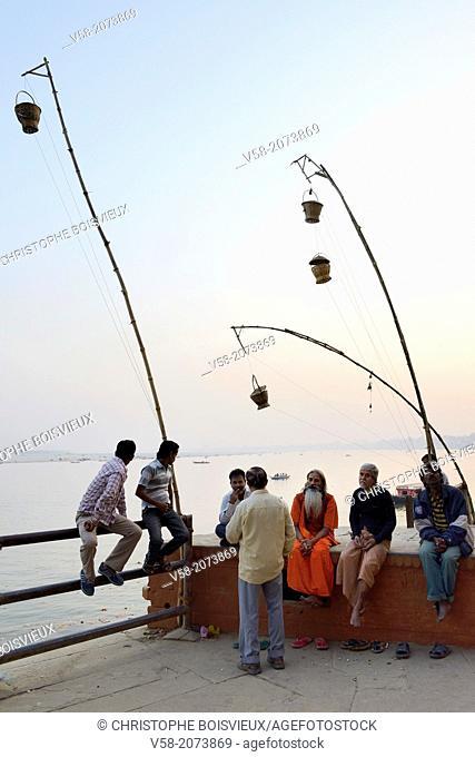 India, Uttar Pradesh, Varanasi, The ghats at dusk