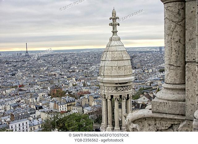 Paris skyline, view from Sacre Coeur basilica dome, , Detail of basilica Sacre Coeur under clouded sky, Montmartre, Paris, France, Europe