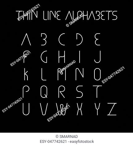 thin line and narrow English alphabets or letters in abstract and unique shapes and in uppercase - vector icons on black background