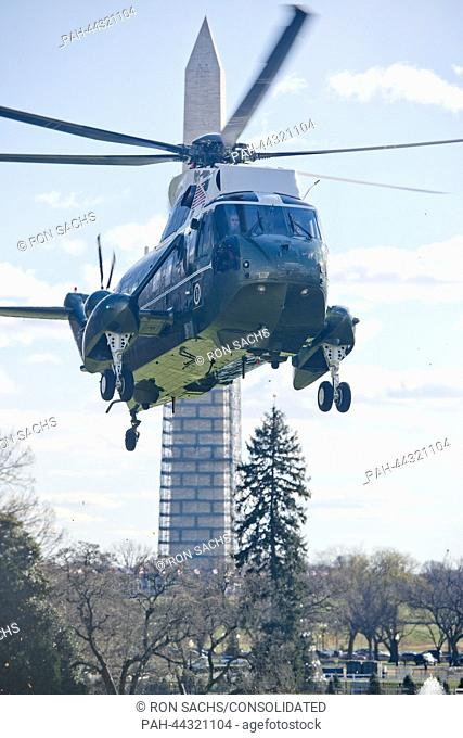 Marine One arrives on the South Lawn of the White House in Washington, D.C. to ferry United States President Barack Obama to Joint Base Andrews, USA