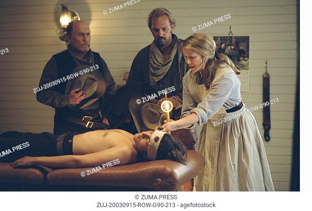 Sep 15, 2003; Alberta, , Canada; Actors KEVIN COSTNER as Charley Waite, ROBERT DUVALL as Boss Spearman and ANNETTE BENING as Sue Barlow in 'Open Range