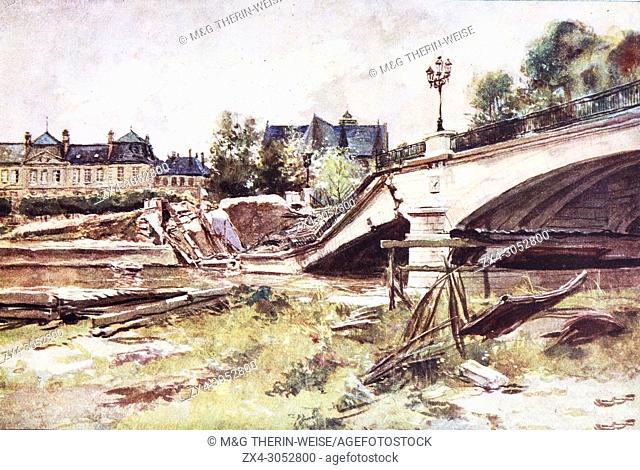 Soissons bridge over Aisne river after bombing raid, 1915, France