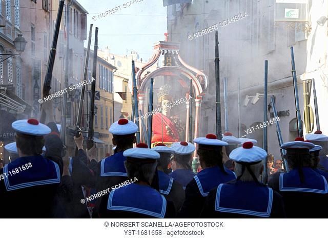 Europe, France, Var, 83, St  Tropez, the bravado, sailor shot before the Blessed