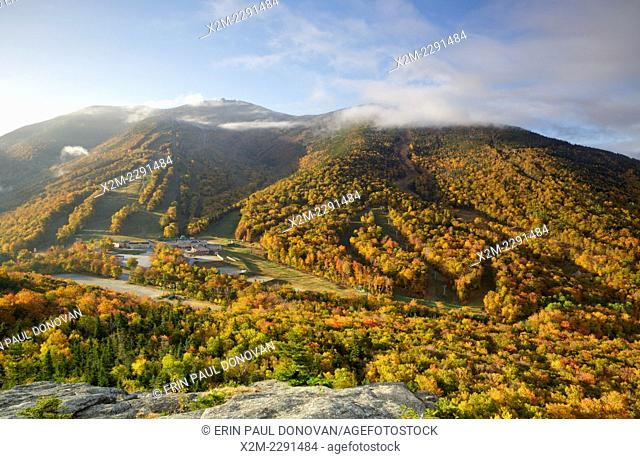 Cannon Mountain from Bald Mountain in the White Mountains, New Hampshire USA during the autumn months