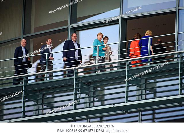 16 June 2019, Berlin: Ralph Brinkhaus (l-r), Chairman of the CDU/CSU parliamentary group, Alexander Dobrindt, Chairman of the CSU regional group in the German...
