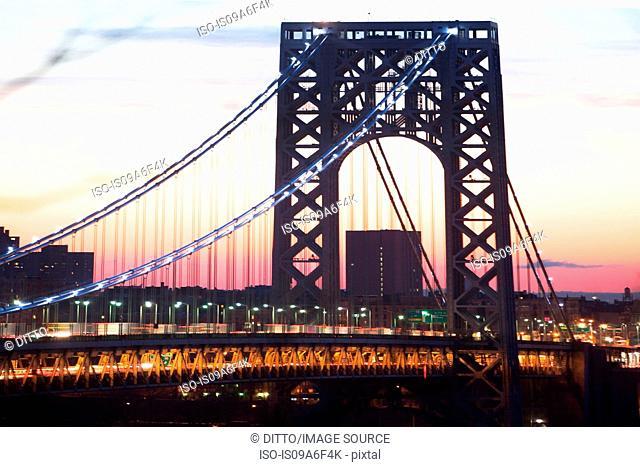 Architectural detail of George Washington Bridge, New York City, USA