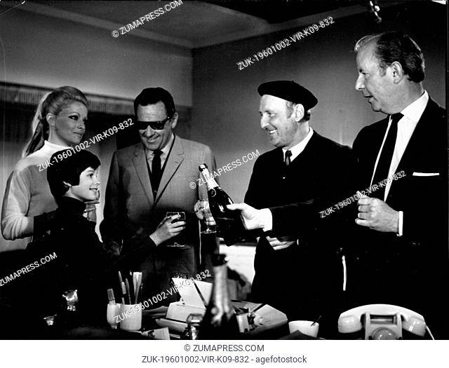 Apr. 2, 1969 - Nice, France - Actress VIRNA LISI with young BROOK FULLER, actors WILLIAM HOLDEN and BOURVIL and director TERENCE YOUNG on set of a film