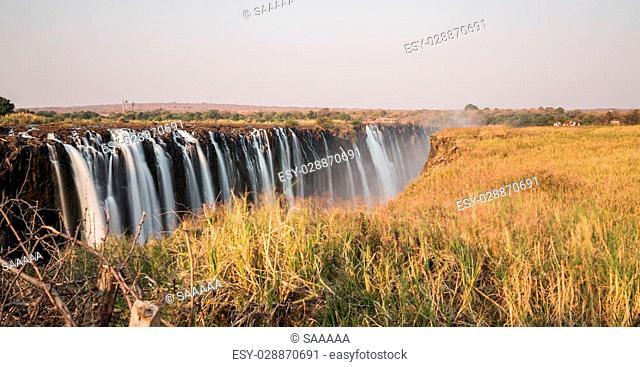 Victoria Falls and silk water, long exposure photo, Zimbabwe side