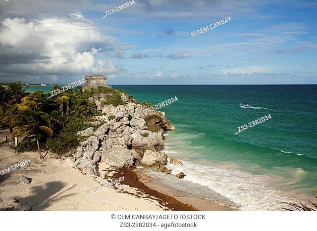 Boat near the Tulum Ruins, Quintana Roo, Yucatan Province, Mexico, Central America