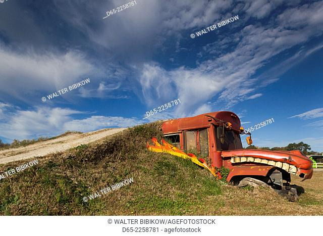 USA, North Carolina, Poplar Branch, Digger's Dungeon, home of the Grave Digger Monster Trucks, monster truck obstacle course