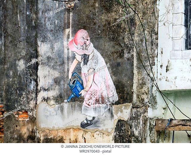 Thailand, Chang Wat Phang-nga, Tambon Khuekkhak, street art in Takuapa