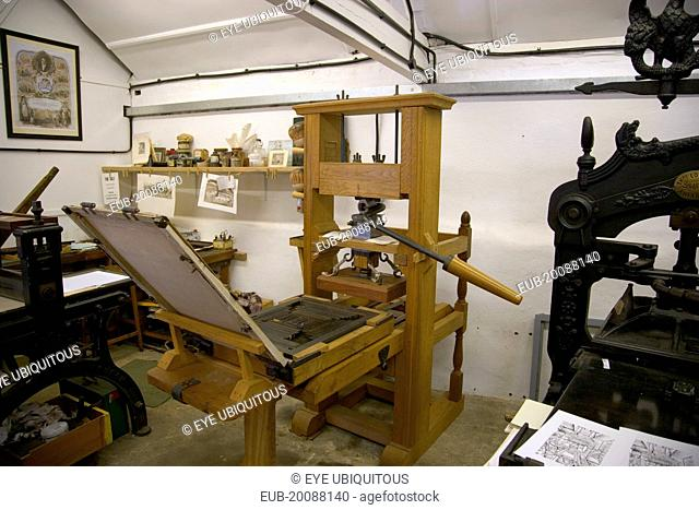 Amberley Working Museum. The Print Workshop with a collection of printing machinery and typecasters