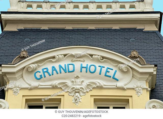 Grand Hotel, facade ( detail ), Villers sur Mer, 14, Calvados, Normandy, France