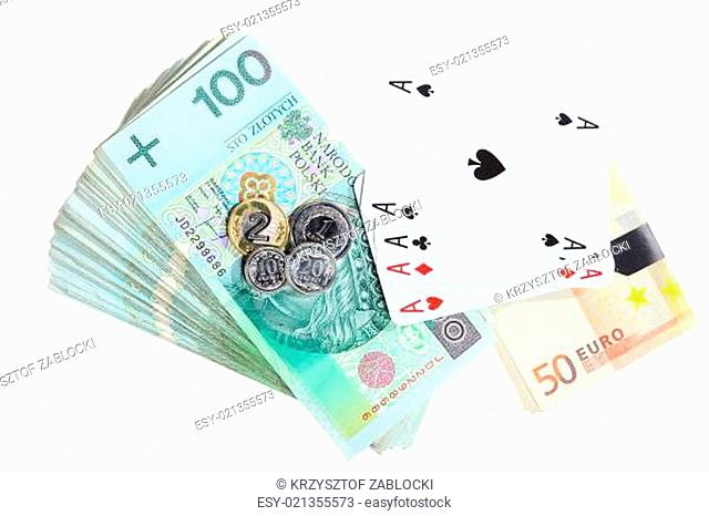 Gambling concept. Playing cards aces and money