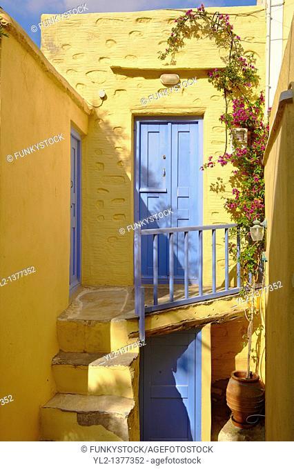 Narrow streets & houses of Ano Syros, Syros Island  S  , Greek Cyclades Islands