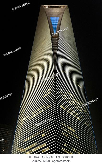 'The Shanghai World Financial Center' 492 meters high, Pudong Business District, Shanghai, China, Asia
