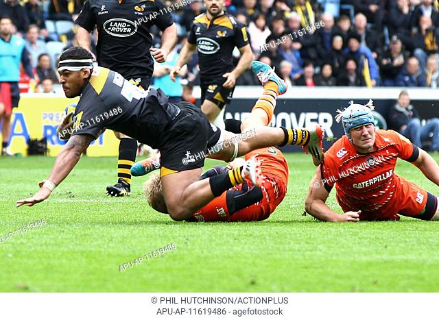 2015 Aviva Premiership Wasps v Leicester Tigers May 9th. 09.05.2015. Coventry, England. Aviva Premiership. Wasps versus Leicester Tigers