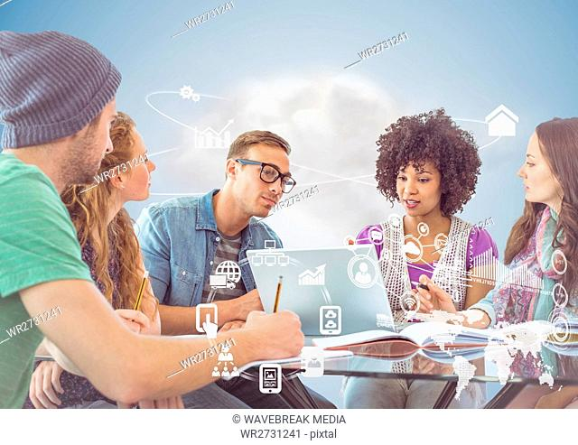Executives discussing over laptop in office and global communication interface
