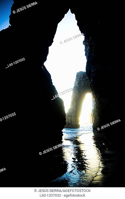 Las Catedrales beach  Ribadeo  Lugo province  Galicia  Spain