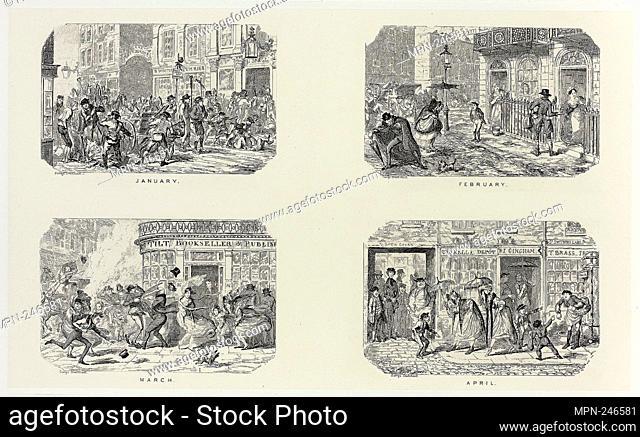 January from George Cruikshank's Steel Etchings to The Comic Almanacks: 1835-1853 (top left) - 1835, printed c. 1880 - George Cruikshank (English